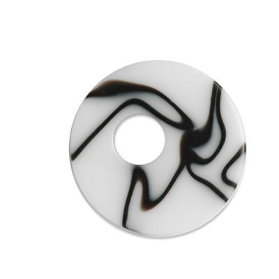 Scheibe Aquarell assym. Acryl 25mm s/w geschliert