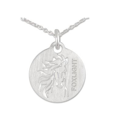 Anhänger Pferd Gravur 8 Zeichen inkl. Silberkette