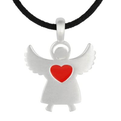 Romantik Engel Silber Herz rot, Alkantara Band