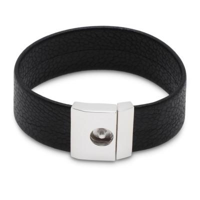 Basis Armband RING DING ONE TOP Leder schwarz 20mm