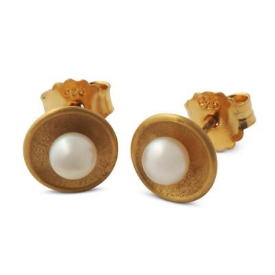 Perlzeit Ohrstecker 8,5 mm, Perle 4 mm, gelbgoldplattiert