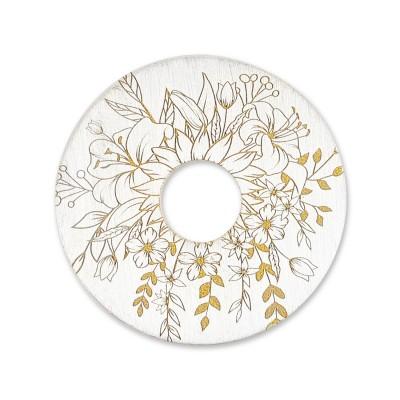 Scheibe Blumenstrauß, 28 mm, Silber