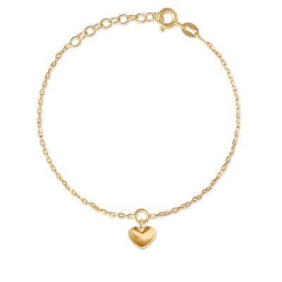 Armkette Herz matt goldplatt 9mm