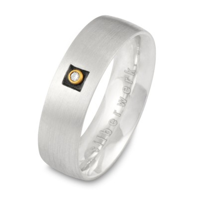 Ring Carré, mit Brillant, 6 mm