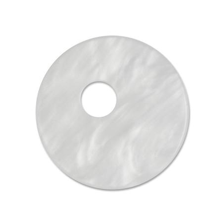 Scheibe Aquarell assym. Acryl 33mm weiß