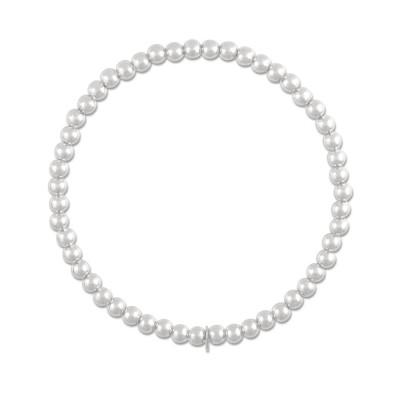 Beadkette auf Elastikband Silberkugeln 4mm