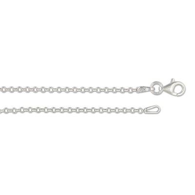 Kette Erbskette Silber 50cm 2.1 mm rhodiniert