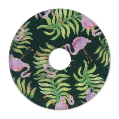 Acryl Scheibe 36mm grüne Flamingos