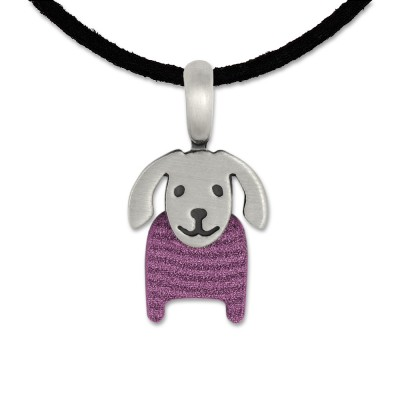 LITTLE FRIENDS; Hund 16x11mm Rose/lila