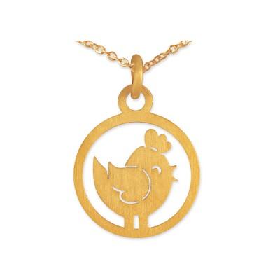 Anhänger Hahn inkl Silberkette goldplattiert