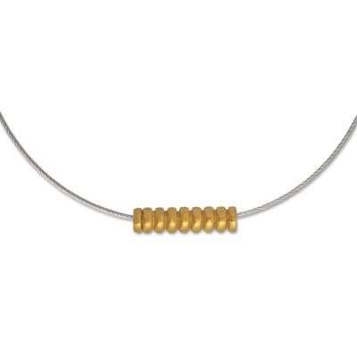 TUBE Röhrchen mit Streifen, am Stahlseil, goldplattiert