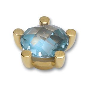 Top Floating Stones 15mm, Stein 12mm blau goldpl.