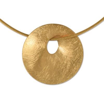 PUR Anhänger goldplattiert inkl. Silberseil