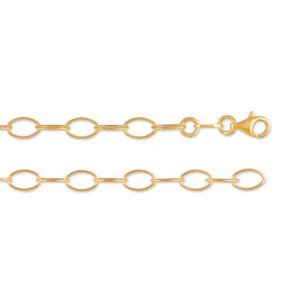 Rundösen Halskette Oval 80cm, vergoldet