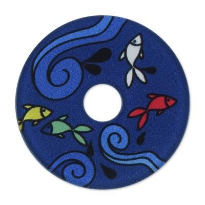 Acryl Scheibe 36mm blaue Fische