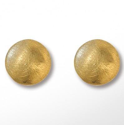 Basis-Ohrstecker Waves rund 14mm goldplattiert
