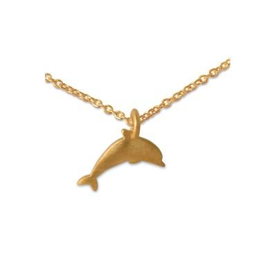 Anhänger Delphin mit Silberkette goldplattiert