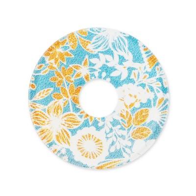 Acryl Scheibe 28mm, Blumenwiese gelb blau