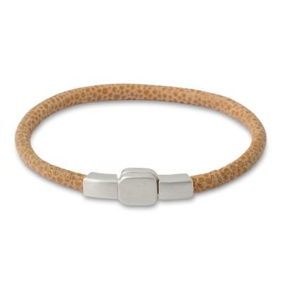 Armband 4mm Rundleder BEIGE Magnet Silberverschluß