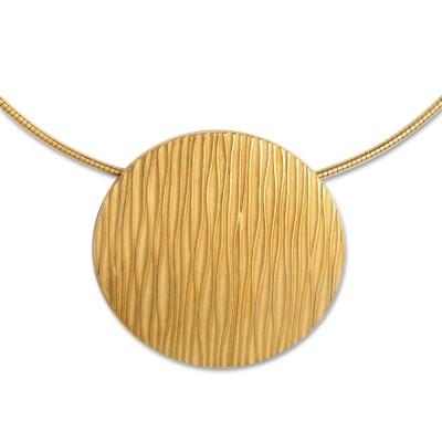 Anhänger Sand, rund, mit Silberseil, goldplattiert