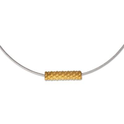 TUBE Röhrchen m.Punkten am Stahlseil goldplattiert