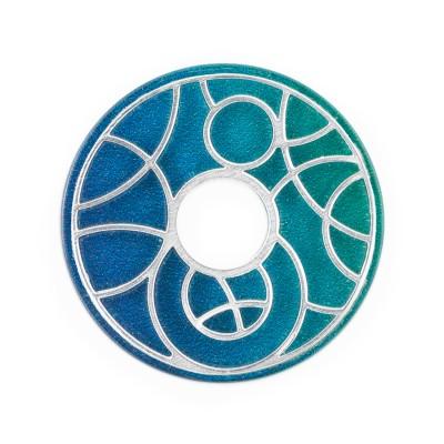 Scheibe Planet Blau Grün 28mm