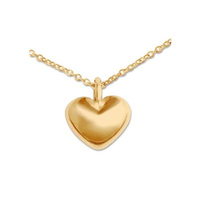 Mini Anhänger Herz matt goldplatt 9mm Silberkette