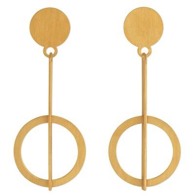 Ohrhänger Stab mit Kreis 45x18mm plattiert