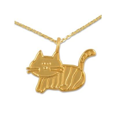 Anhänger Katze*** inkl. Silberkette goldplattiert