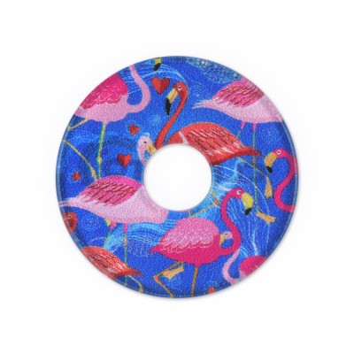 Acryl Scheibe 28mm blaue Flamingos