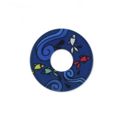 Acryl Scheibe 22mm blaue Fische