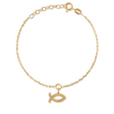 Armkette Ichtys goldplatt. 11mm Silberkette