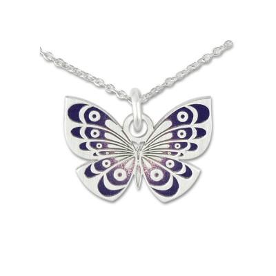 Anhänger Schmetterling lila mit Silberkette