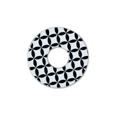 Acryl Scheibe 22mm Flower of Life black and white