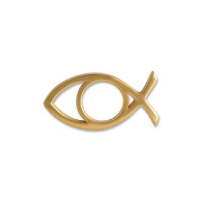 Scheibe Talisman Ichthys, 22x11mm, goldplattiert
