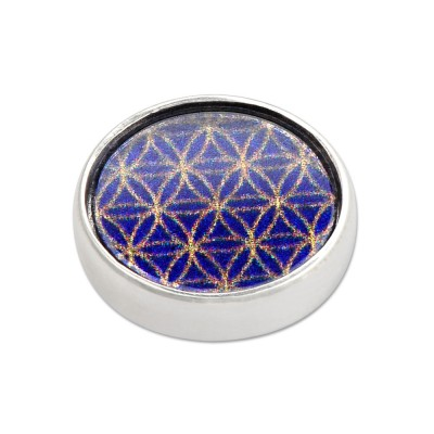 Top FLOWER OF LIFE BLUE rund, 14mm