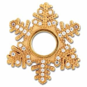 Scheibe Snowflake, 26 mm, goldplattiert
