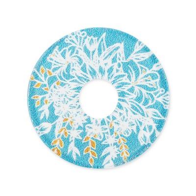 Acryl Scheibe Blumenstrauss, 28 mm, gelb blau