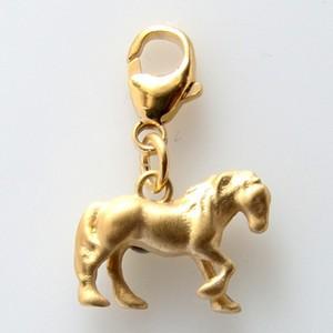 Charm Pferd goldplattiert 15x11mm