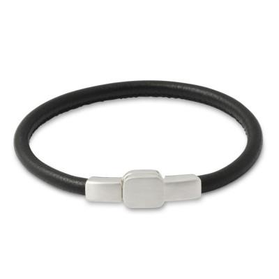 Armband 4mm Rundleder SCHWARZ Silberverschluß