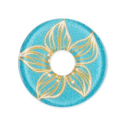 Acryl Scheibe 28mm, Blüte blau gelb