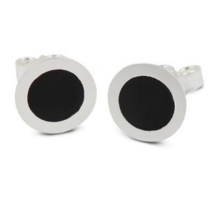 Ohrstecker Palette Silber/Acryl matt schwarz 10mm