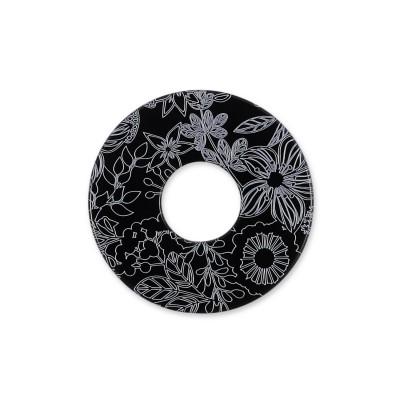 Acryl Scheibe Blumenwiese, 22 mm, schwarz