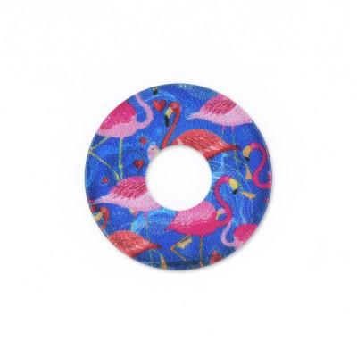 Acryl Scheibe 22mm blaue Flamingos