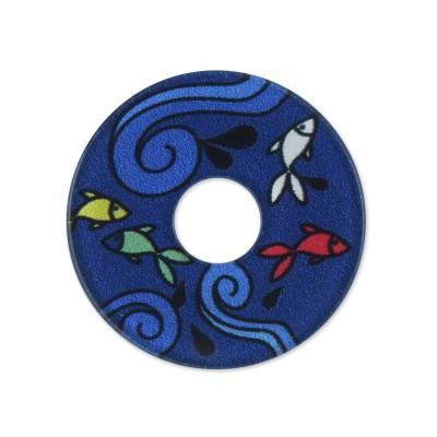 Acryl Scheibe 28mm blaue Fische