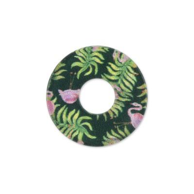 Acryl Scheibe 22mm grüne Flamingos