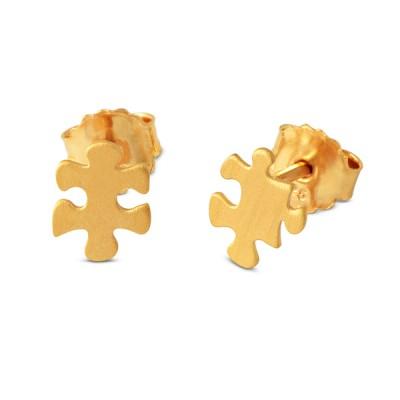 Mini Puzzle, Ohrstecker, 7x8mm, goldplattiert