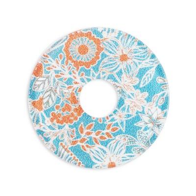 Acryl Scheibe 28mm, Blumenwiese orange blau