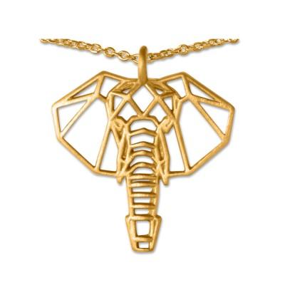 Anhänger Elefant mit Silberkette plattiert