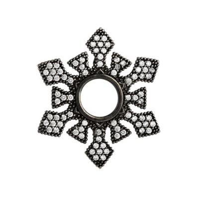 Scheibe Crystal, Zirkonia Pavé, rutheniert, 28mm